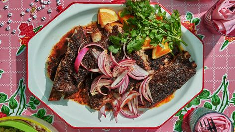 Mole-Spiced Ribs With Orange and Pickled Onion Recipe