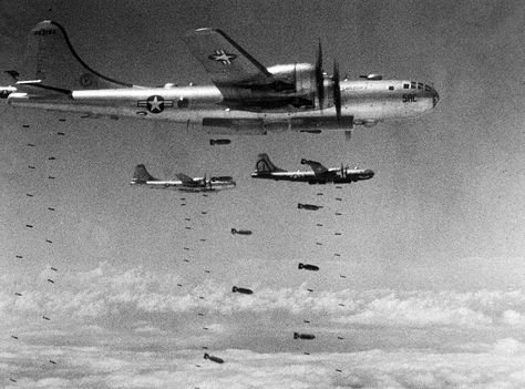 America Defends Her Freedom - An Armed Forces Day Historical Feature. US Air Force Superfortresses drop their bomb loads on a strategic target during the Korean conflict. Get premium, high resolution news photos at Getty Images