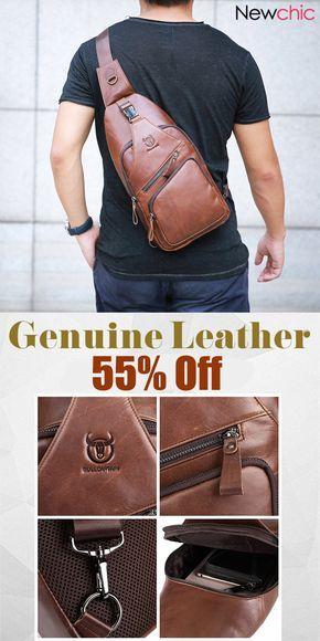 【Buy Now】Genuine Leather Large Size Chest Bag Sling Bag Single-shoulder Crossbody Bag. #mensfashion #bags #menswear