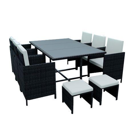 10 Places Ensemble Encastrable Salon Table De Jardin Resine