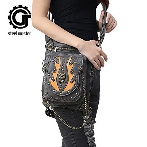 Steampunk Waist bags Womens Motorcycle Leg Bags Vintage Gothic Leather Messenger