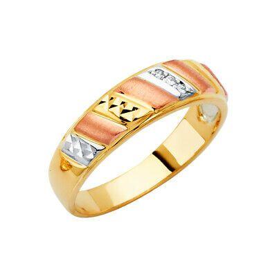 14K Solid Gold Tri Color Gold CZ Stones Mens Wedding Ring Ioka
