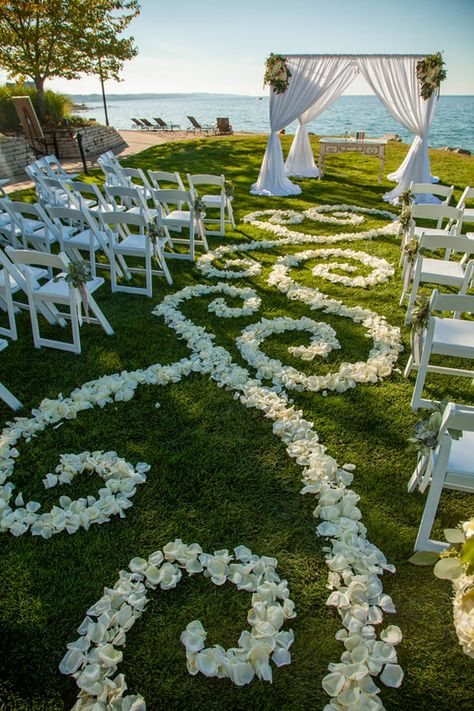 This Lake Michigan Wedding Reception is simply dreamy. From the ceremony view of the water to the stunning reception room, you're sure to fall in love.