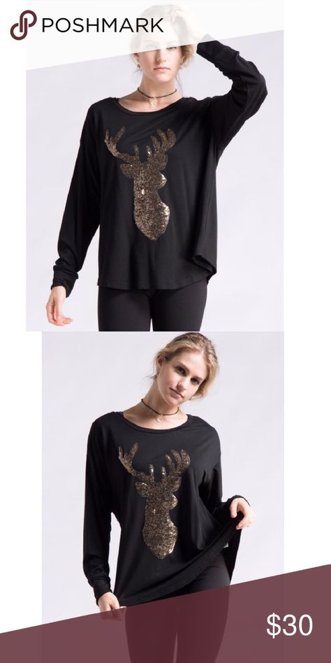 876348595b5 🦌Oversized Black Sequin Deer Top🦌 Oversized/baggy style long sleeved top.  70% rayon 25% polyester 5% spandex. Fashionomics Tops Tees - Long Sleeve