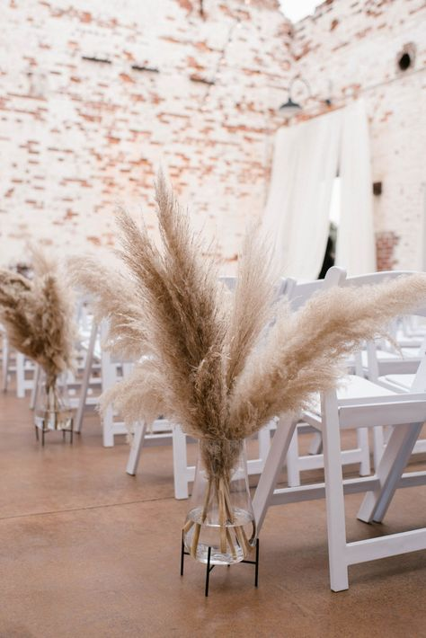 Pampas Grass and Blush Accents - An Industrial Chic Wedding at The Engine Room - Engaged Life Chic Wedding, Floral Wedding, Fall Wedding, Dream Wedding, Neutral Wedding Flowers, Wedding Ideas, Wedding Centerpieces, Wedding Decorations, Tall Centerpiece