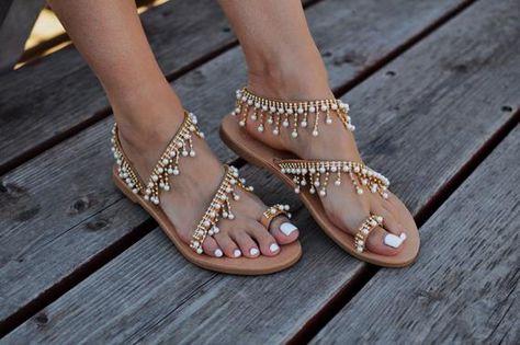 acf9dd6d0e1 Greek sandals Caliope Pearl sandals Wedding