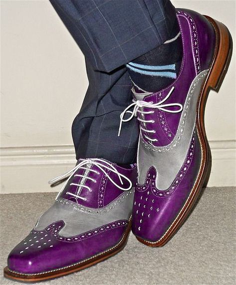 Handmade men's fashion wingtip two tone shoes, Men Purple and gray brogue shoes #Handmade #MonkShoes #Formal