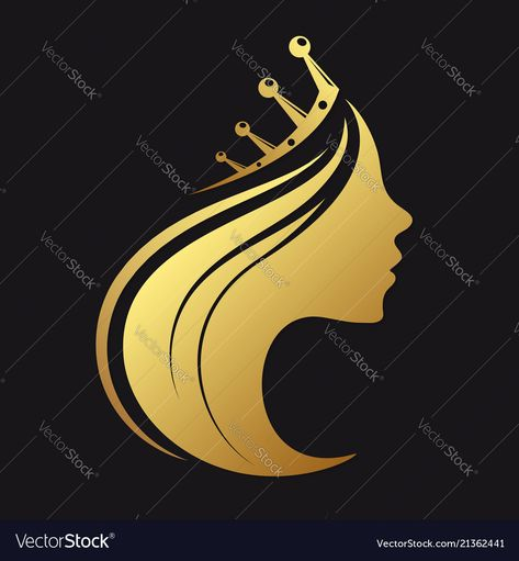 Profile of a girl with a crown Royalty Free Vector Image