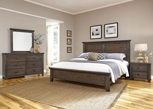 Cassell Park Rich Cocoa Queen Plank Panel Bed W Dresser And