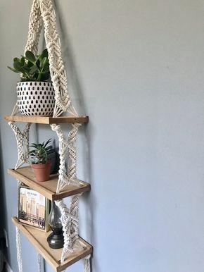 Extra Large Triple Macrame Hanging Shelf // Wooden Hanging Shelf // Boho Decor // Modern Macrame //