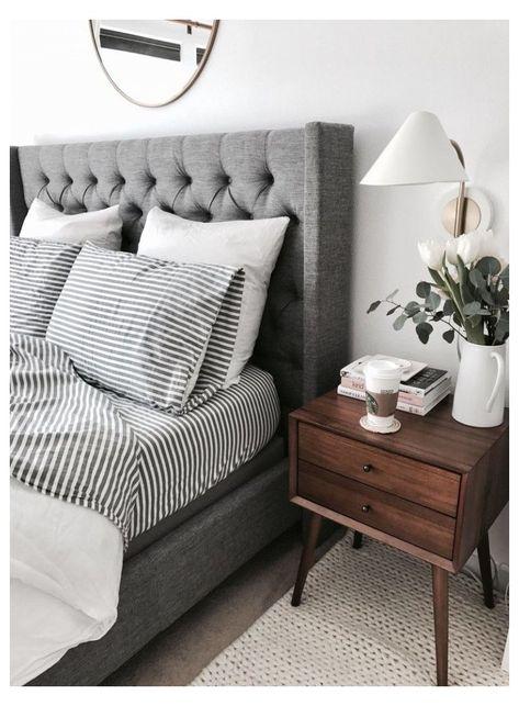 Gray Bedroom, Trendy Bedroom, Home Decor Bedroom, Master Bedroom, Bedroom Modern, Contemporary Bedroom, Gray Home Decor, Modern Contemporary, Gray Bedding