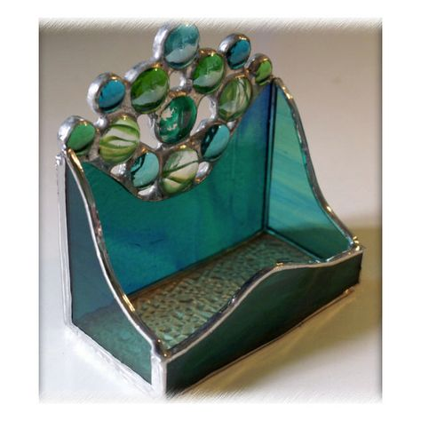 Business Card Holder Handmade Stained Glass Peacock Blue  £14.50