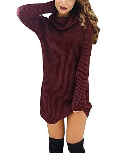 Damen Herbst Winter Pullover Kleid Strickpulli Langarm Lose Sweater Lang Oberteile Jumper Pulli Winter Outfits Frauen Schnee Strickkleid Pullover Modestil