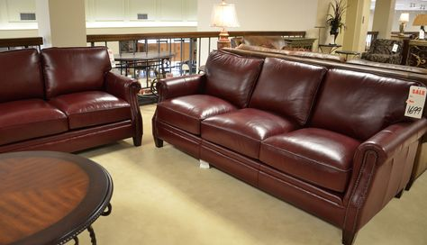 Outstanding Wine Red Leather Sofa And Loveseat With Nail Head Trim Gamerscity Chair Design For Home Gamerscityorg