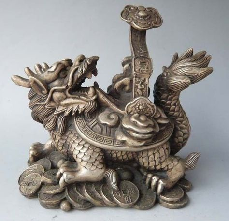 Oriental Chinese Folk Old Bronze Handwork famous Dragon head paw Weapons Statue