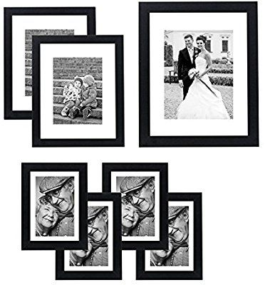 Amazon Com Americanflat 7 Pack Gallery Wall Set 11x14 8x10 And 5x7 Black Gallery Wall Wall Frame Set Frames On Wall