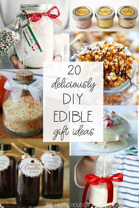 christmas gifts Deliciously DIY Edible Christmas Gift Ideas: These easy fun food gift ideas are the perfect treat for the holidays! Get some inspiration for gifts for the hostess, friends, and family! Edible Christmas Gifts, Diy Christmas Gifts For Family, Handmade Christmas Gifts, Christmas Hamper Ideas Homemade, Diy Holiday Gifts, Christmas Ideas, Handmade Gifts, Homemade Food Gifts, Diy Food Gifts