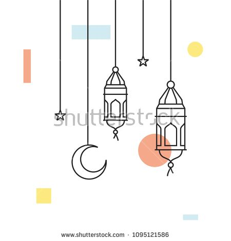 Hanging Arabic Traditional Lantern Lamp Ramadan Kareem Illustration Line Outline Style Ramadan Mubarak Ramadhan Traditional Lanterns Ramadan Lantern Lamp