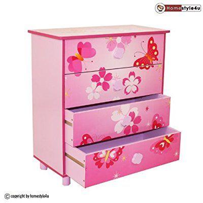 Homestyle4u 647 Kinderkommode Kinderschrank Schmetterling Mit 4 Schubladen Facher Aus Holz In Pink Rosa Fur Kinde Kinder Schrank Kinderschrank Regal Kinder
