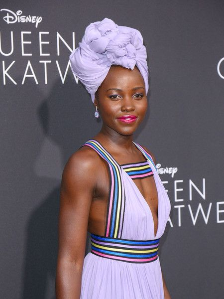 Lupita Nyong'o is seen arriving at the premiere of Disney's 'Queen of Katwe.'