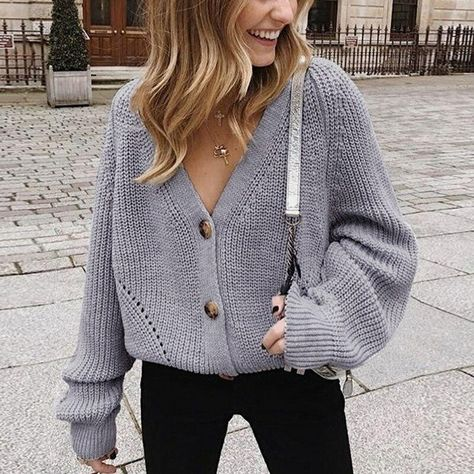 Women Solid Cardigans Autumn Casual Batwing Sleeve Knitted Sweater Fashion Oversize V-Neck Button Female Knitwear Outwear - M / EA00603-GREY