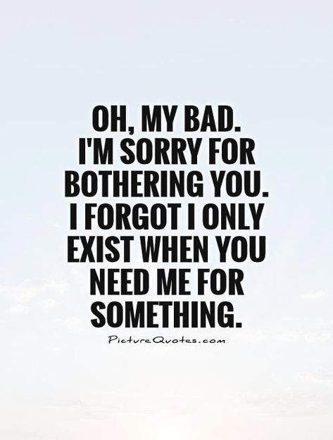 Oh, my bad. I'm sorry for bothering you. I forgot I only exist when you need me for something. Picture Quotes.