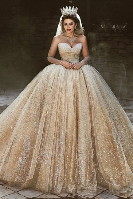 5164321f506f8 Luxury Champagne Gold Wedding Dresses | Sequins Princess Ball Gown ...