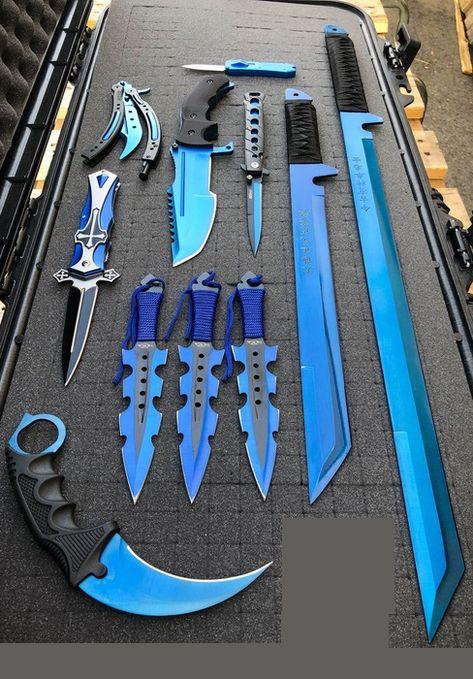Elite Blue Tactical Set - Swords, Karambit, Throwing Knives, Pocket Knife, Balisong Trainer SET - M