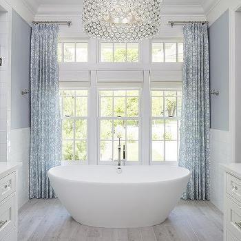 Large Crystal Drum Pendant Light Over Oval Bathtub Dream Bathrooms Elegant Bathroom White Bathroom