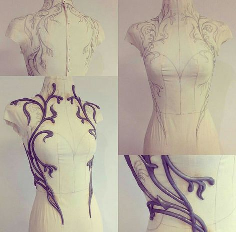 Working on a new dress design, shaping flower vines around the torso. First sew … Working on a new dress design, shaping flower vines around the torso. First sew a fitting form for the mannequin, then hand draw the shape… Cosplay Tutorial, Cosplay Diy, Cosplay Costumes, Cosplay Wings, Diy Costumes, Fascinator, Mother Nature Tattoos, Tattoo Nature, Kleidung Design