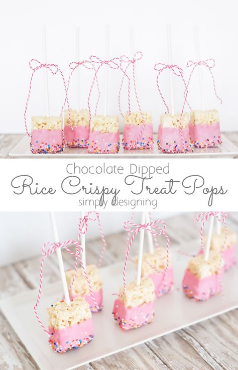 Chocolate Dipped Rice Crispy Treat Pops - these are perfect for a baby shower or any party or celebration!  #sponsored