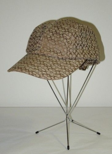 Coach Authentic Brown Tan Signature Pattern Canvas Baseball Cap Hat P  S 8739084e364