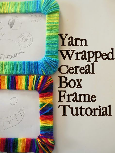 hazel and company: Yarn-Wrapped Frame Tutorial....this is a great way to recycle cereal boxes!