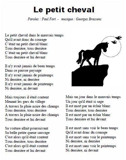 Le Petit Cheval Blanc De Paul Fort En 2020 Paroles De Chansons Brassens Cheval Blanc