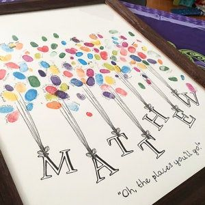 Name being Lifted by Balloons Fingerprint Guest Book Shower   Etsy