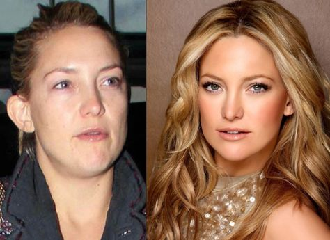 Kate Hudson before and after the make-up look Source by heidiknen