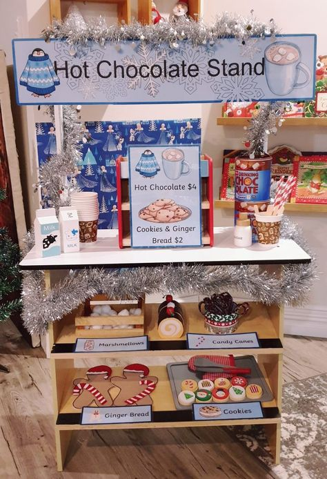 Hot chocolate stand Christmas Dramatic Play Center Christmas dinner All the trimmings Letters to santa Post your parcels Camping Dramatic Play, Dramatic Play Themes, Dramatic Play Area, Dramatic Play Centers, Preschool Dramatic Play, Preschool Learning Activities, Play Based Learning, Preschool Class, Family Day Care