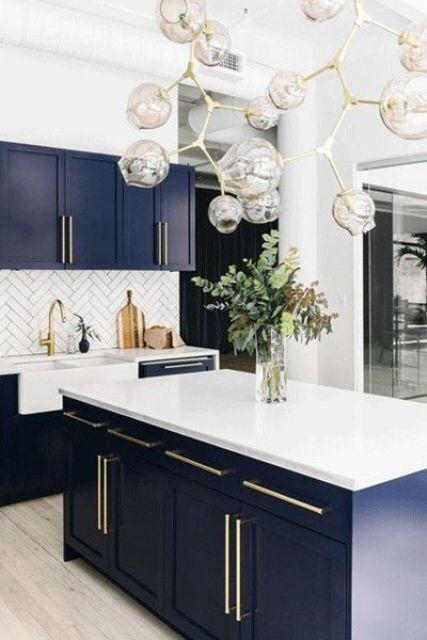 Blue And White Kitchen Decor Luxury 30 Gorgeous Blue Kitchen Decor Ideas Digsdigs In 2020 Modern Kitchen Design Kitchen Interior Blue Kitchen Decor