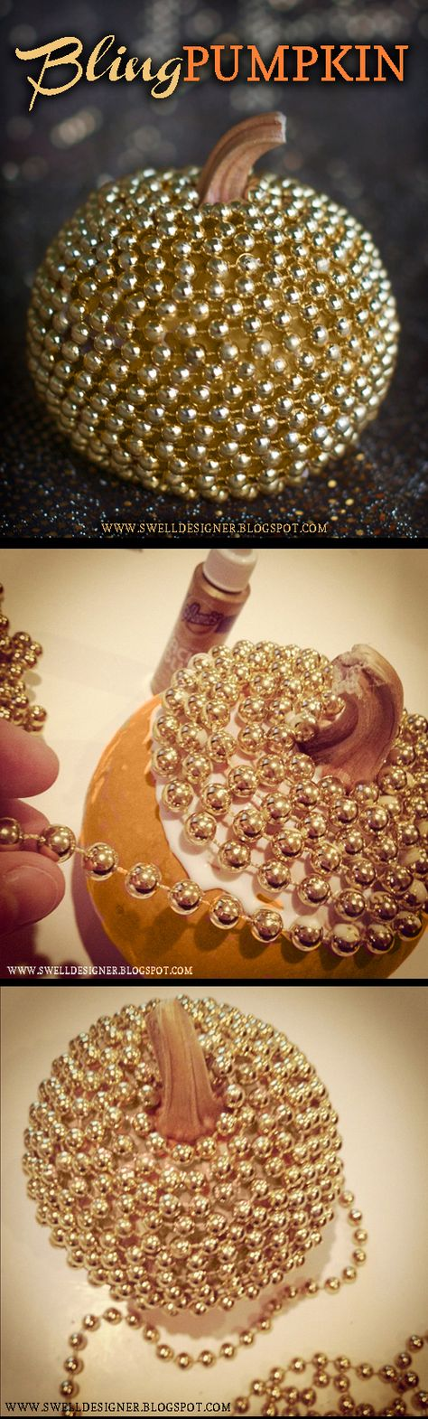 DIY: Make a cool and stylish metallic Bling Pumpkin in no time using tacky glue. gold paint & a string of gold mardi gras beads.  Such a sophisticated look that screams upscale, don't you think?  Here's how you make it! Tutorial