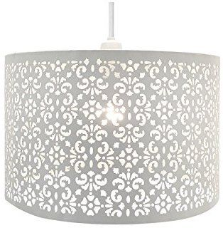 32e5c8fc4db Chandelier Chic Ceiling Light Pendant Shade Crystal Droplet Fitting Easy Fit  (LARGE METAL SHADE WHITE)  Amazon.co.uk  Kitchen   Home