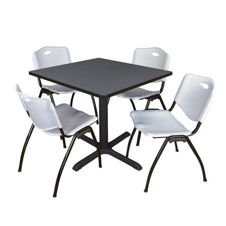 Cain 42 Grey Square Breakroom Table And 4 M Stack Chairs Multiple Colors Walmart Com Break Room Table And Chair Sets Versatile Table 42 inch square folding table