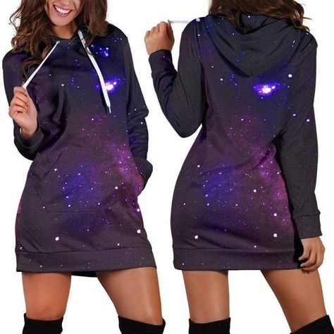 Space Galaxy, Women's Hoodie Dress, Hippie, Cosmic Vibrant, Pullover Long Dress, Custom Printed, Lon
