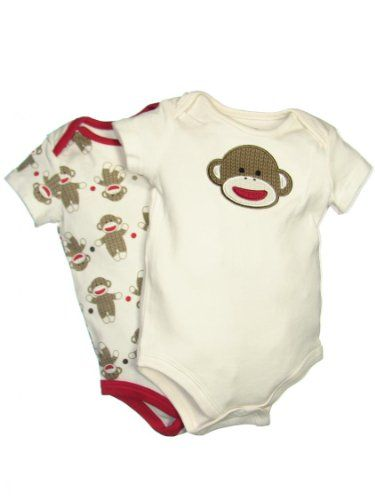 580e6875d3 2 Pack of Sock Monkey Onesie Bodysuits by Baby « Clothing Impulse ...