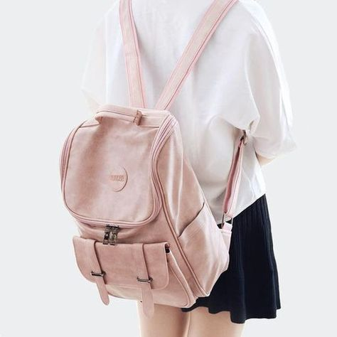 Fresh Girl Large High School Bag Soft PU Double Buckle Student Backpack #bag #Backpack