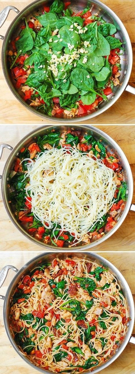 spaghetti with chicken tomatoes and spinach 20 healthy meals you can make i