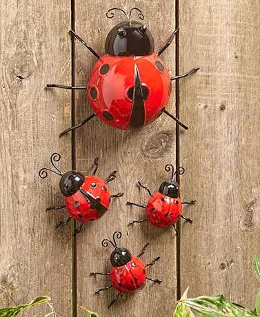 3 Large Wall Art Metal Decorative Ladybird Summer Garden Decoration Ornament