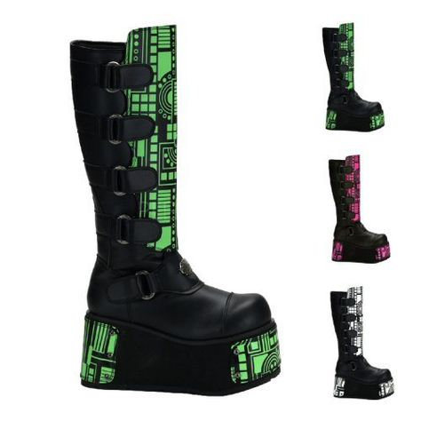 Cyber Platform Boots by Demonia. Black veggie leather platform boots with bullets, straps, and flame accents. mens platform boots from Demonia.