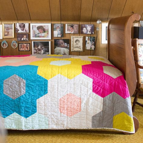 Monster-Sized Hexy Quilt in Cirrus Solids