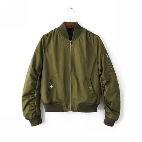 zipper long sleeve winter quilting cotton-padded bomber jacket - C-Green / L