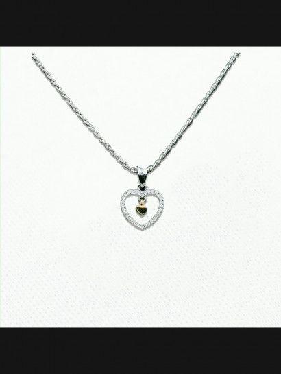 كوليه فضة عيار 925 كولية قلب فضة البيع بالقطعة Jewelry Silver Necklace Silver